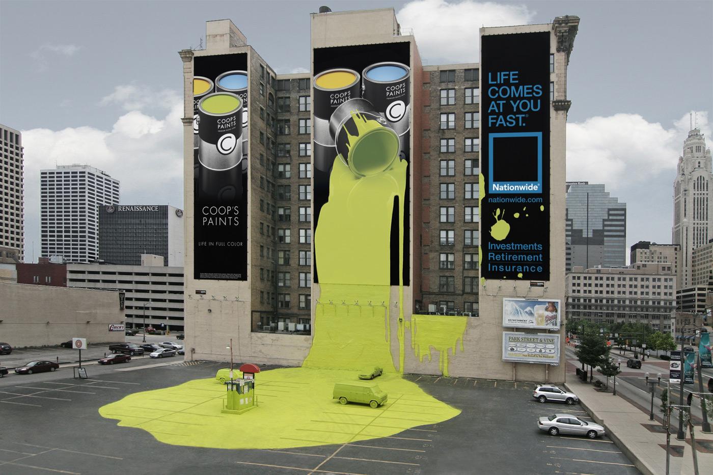 publicidad exterior en edificio con lona gigante