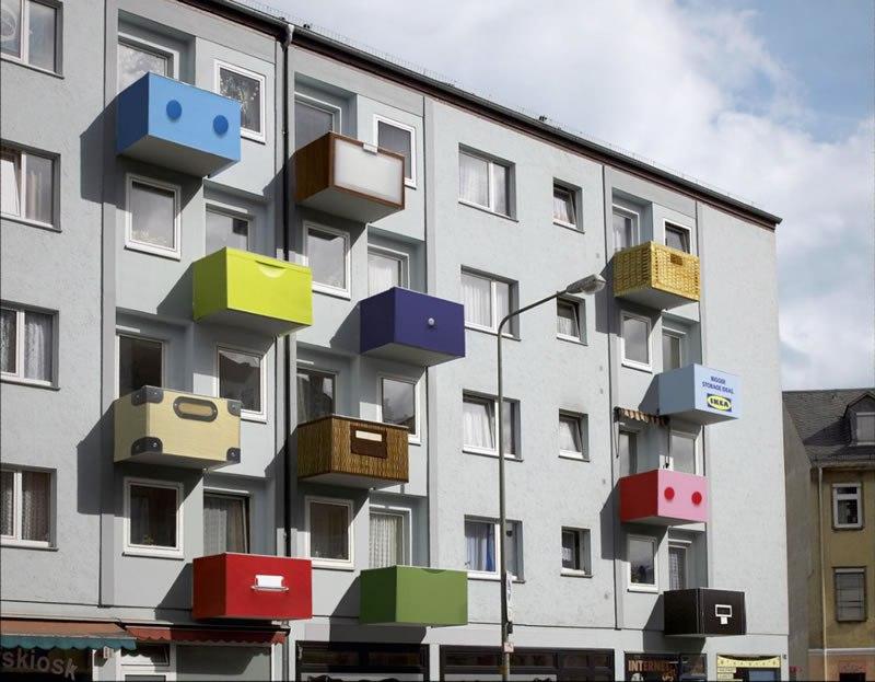 Camapaña creativa en la fachada de un edificio de Ikea
